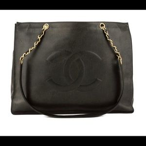 Chanel Black Caviar Leather Large Chain Bag